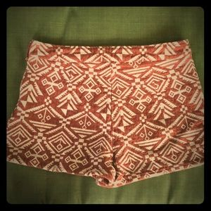 High Waisted Nutmeg Aztec Inca Tribal Print Shorts
